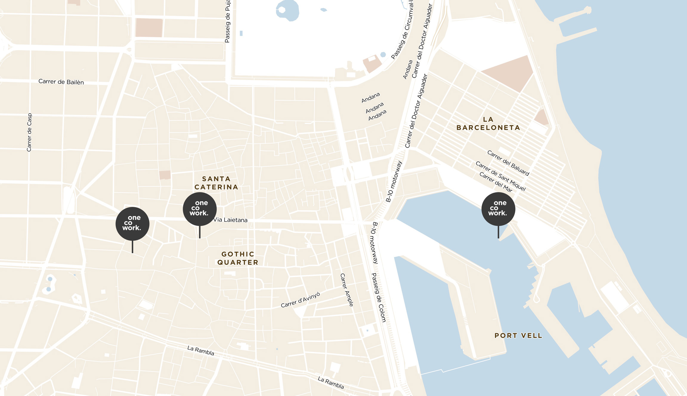 location of the 3 coworking spaces of OneCoWork on a map of Barcelona